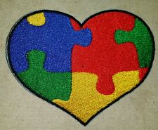 AUTISM PUZZLE HEART MOTORCYCLE BIKER EMBROIDERED VEST PATCH IRON ON NEW