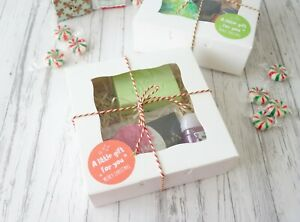 6x White Christmas Cookies Macaron Boxes XMAS Chocolate Favour CupcakBox