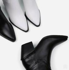 British Women Mid Calf Boots Pointy Toe Western Cowboy Chunky Heel Shoes Winter