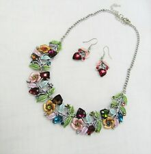 Silver Plated Multi-color Flower Floral Design Jewelry Set Necklace & Earrings