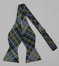 NWT Mens Nathan J Green/Blue/Black Plaid Silk Self-Tie Bow Tie