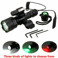 White/Red/Green LED Flashlight Hunting Torch Red Laser Combo For Scope Mount
