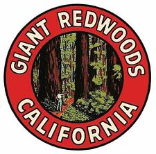 Giant Redwoods  California Vintage Looking   Travel Decal  Luggage Label Sticker