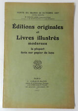 *** CATALOGUE DROUOT : EDITIONS ORIGINALES ET LIVRES ILLUSTRES MODERNES - 1937