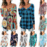 Women Baggy Floral Casual Blouse Long Sleeve V-Neck Pullover Boho Holiday Tops