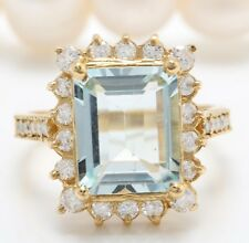 4.70 Carat Natural Blue Aquamarine and Diamonds in 14K Solid Yellow Gold Ring