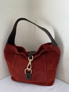 Dooney & Bourke Red Suede Brown Leather Trim Hobo Shoulder Handbag