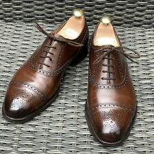 Edward Green Cadogan Brown Leather Oxford Semi Brogues Shoes UK 7.5 E 202 Last