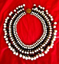 ~WOW! Vintage Egyptian Revival Art Deco Black & White Cabochon Bead Necklace