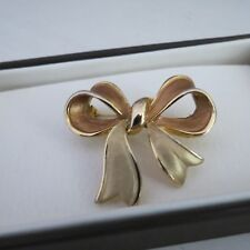 Vintage brushed two tone gold bow brooch