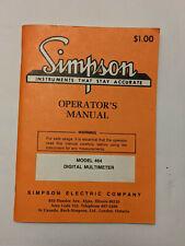 Simpson Model 464 Digital Multimeter Operators Manual Original With Schematic