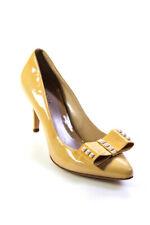 Fendi Womens Rhinestone Bow Pointed Toe Pumps Yellow Size 38 8