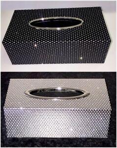 Silver Black Glitter Sparkle Luxury Bling Tissue Box Napkin Holder Standard Size