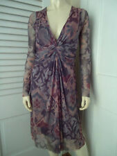 WESTONWEAR Dress S Nylon Pullover Draped Knot Front Shirring Lined Floral SEXY