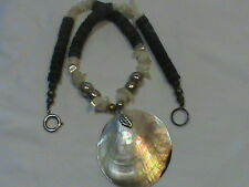 Vintage Heishi Bead Mother of Pearl Abalone Pendant Necklace