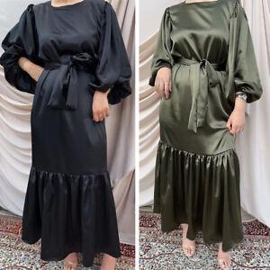 Muslim Women Abaya Maxi Dress Kaftan Jilbab Islamic Dubai Arab Robe Loose Casual