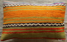 (30*50cm, 12*20in) Vintage handwoven kilim cushion cover Boho stripes orange yel
