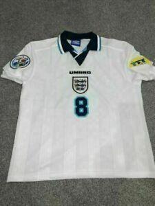 1996 England Home Retro Shirt European Cup retro jersey fan shirt UK Sizes S-XXL