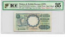 Mazuma *GN23 TQG/PMG Malaya 1959 $1 A/22 743289 Minor WaterMark Error VF35