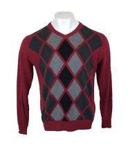 Mens Nautica Jumper Argyle Diamond Golf Sweatshirt Red Medium