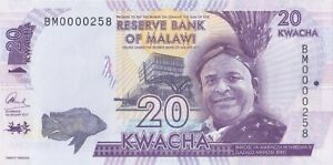 Malawi 20 Kwacha 2017 , Fancy, Low serial number # (( 000258 )), Uncirculated