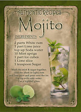 MOJITO  COCKTAIL  RECIPE,CAFE PUB, MAN SHED,HOME DECOR:METAL SIGN GREAT GIFT