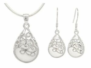 Decorated white moonstone necklace and earrings 925 sterling silver purple bag
