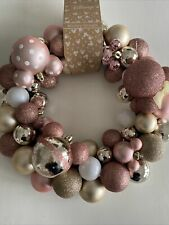 Disney Primark Mickey Minnie Mouse Rose Gold Pink Christmas Bauble Wreath BNWT