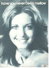 "OLIVIA NEWTON-JOHN ""HAVE YOU NEVER BEEN MELLOW"" SHEET MUSIC-1975-RARE-BRAND NEW!"