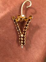 Vintage Prong Set Amber Rhinestone Umbrella Brooch Pin Open Center Gold Tone