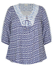 Lovely Loose Fitting, Paisley Lace up Pleasant Top Tunic Size 14 (FREE POST)