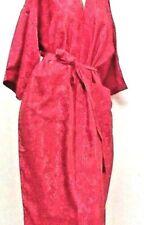 "Lot of 5 Bright Red Robe Kimono bath robe 41"" long handmade floral Size M/L"