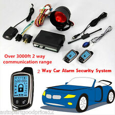 2-Way Car Alarm Security System Keyless Entry w/ 2x LCD Long Distance Controlers