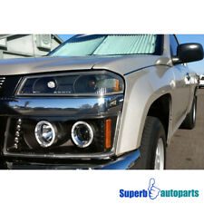 2004-2012 Chevy Colorado LED Halo Projector Headlights Bumper Lamps Black 4PC