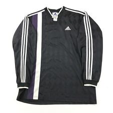 Vintage 90s Adidas Mens Xl Soccer Long Sleeve Jersey Shirt Shiny Striped Diamond