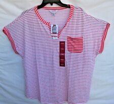 585ebd934cc Womens Lizsport Georgia Peach White Striped V Neck 3 4 Sleeve Shirt Top XL