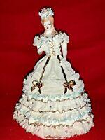 Antique Dresden Lace Cinderella Ball Gold Sash Bow Dress Figurine Doll ❤️sj11h5s