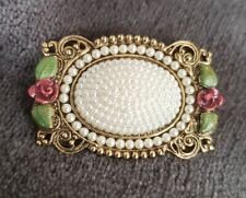 Brooch Pin with rose detailing Vintage Oval Pearl encrusted goldtone