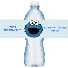 21 Cookie Monster Birthday Party Water Bottle Labels