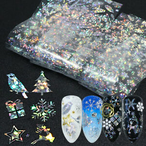 8Pcs Holographic Gradient Christmas Starry Nail Art Foil Transfer Decal Stickers