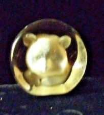 Reduced-Vintage Glass Bear Face Image Teddy Cub Figurine Paperweight Label
