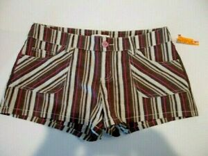Xhilaration💖Shorts-Tan Brown Pink Stripe-Stretch-Size 11 # C47