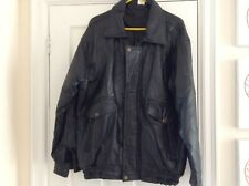 Mens Faux Black Leather Jacket LARGE Worn Good Condition