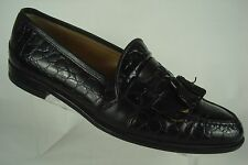 Johnston & Murphy Loafer Tassel Cellini Black Croc Print Shoes Italy Size 8 M