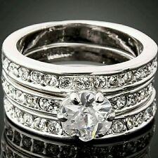 Wedding engagement Jewelry Stylish 3-in-1Crystal rings for women size 8