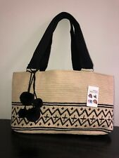 Authentic 100% Wayuu Purse Colombian Bag Large Size Oval Shape Tote Pom