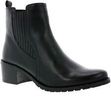 Caprice Womens UK 6.5 EU 40 Black Leather Zip Up Block Heel Chelsea Ankle Boots