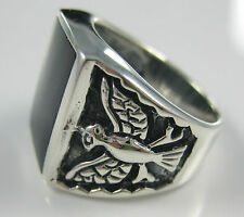 100% Real 925 Sterling Silver Black Onyx Eagle bird oxidised men guy gents ring