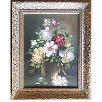 Blumenbouquet Stilleben Blumen K.Huber Ölgemälde auf Leinwand im Goldrahmen