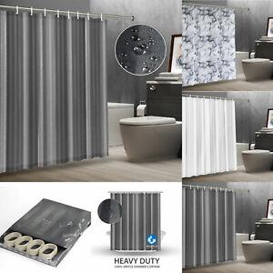 Eyelet Shower Curtain Splash-Resistant Waterproof Bathtub Curtains UK Designs